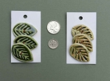 3 Textured Green Leaf Buttons