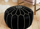 30% OFF Leather Ottoman, Moroccan Pouf, Leather Cocktail seats,
