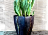 "8"" tall stoneware planter with grassy autumn design"