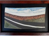 Back Road Three: framed neriage stoneware landscape by Kawartha Wilds Pottery