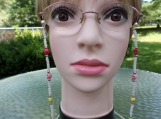 Beaded Eye Glass Necklace, Sugar Skulls, Czech Seed Beads  #34