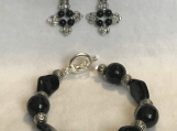 Bracelet and Earrings A11 Black Night