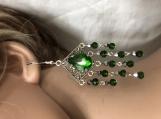 Christmas silver green chandelier earrings