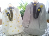 Dark Gray & Lemon Yellow Hand Knit Pacifier Clips - Set of 2