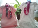 Dark Pink & Mint Green Hand Knit Pacifier Clips - Set of 2