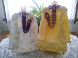 Dark Purple & Lemon Yellow Hand Knit Pacifier Clips - Set of 2
