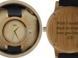 Engraved Bamboo Men's Watch with Black Silicone Strap (W080)