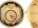 Engraved Bamboo Men's Watch With Deer Engraving (W025)