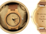 Engraved Bamboo Men's Watch With Deer Engraving (W027)