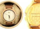 Engraved Bamboo Men's Watch With Leather Strap (W015)