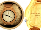 Engraved Bamboo Men's Watch With Striped Bamboo Dial (W017)