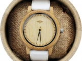 Engraved Bamboo Unisex's Watch with White Silicone Strap (W079)