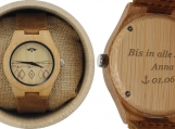 Engraved Bamboo Women's Watch With Bamboo Dial (W086)