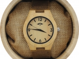 Engraved Bamboo Women's Watch With Brown Leather Strap (W087)