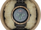 Engraved Dark Sandalwood and Stainless Steel Women's Watch(W134)