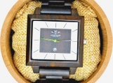 Engraved Dark Sandalwood Men's Square Watch (W121)