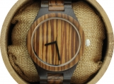 Engraved Dark Sandalwood Men's Watch With Zebrawood Bezel (W065)