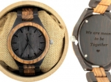 Engraved Ebony and Zebrawood Men's Watch (W035)