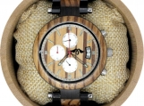 Engraved Ebony and Zebrawood Men's Watch  (W137)