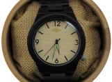 Engraved Ebony Men's Watch with Bamboo Dial (W041)