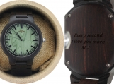 Engraved Ebony Men's Watch With Green Sandalwood Dial (W069)
