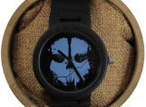 Engraved Ebony Men's Watch With Skull-Embellished Dial (W033)