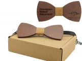 Engraved Large Round Red Sandalwood Bow Tie - Adult Size (B0007)
