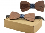 Engraved Large Round Red Sandalwood Bow Tie - Adult Size (B0016)
