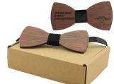 Engraved Large Round Red Sandalwood Bow Tie - Adult Size (B0019)
