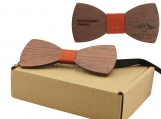 Engraved Large Round Red Sandalwood Bow Tie - Adult Size (B0022)