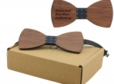 Engraved Large Round Red Sandalwood Bow Tie (B0001)