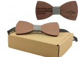 Engraved Large Round Red Sandalwood Bow Tie  (B0010)