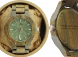 Engraved Laser Engraved Green Sandalwood Men's Watch (W061)