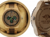 Engraved Maple and Black Sandalwood Men's Watch (W057)