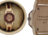 Engraved Maple and Sandalwood Women's Watch (W082)