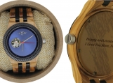 Engraved Olive Wood Men's Self-Winding Watch (W110)