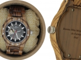 Engraved Olive Wood Men's Self Winding Watch (W112)