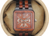 Engraved Red Sandalwood Men's Square Watch (W067)