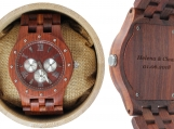 Engraved Red Sandalwood Studded Men's Watch (W002)