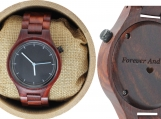 Engraved Red Sandalwood Unisex's Watch With Black Dial (W001)