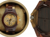 Engraved Red Sandalwood Unisex's Watch With Maple Accents (W056)