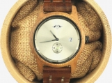 Engraved Rosewood Men's Watch With Stainless Steel Inlay (W149)