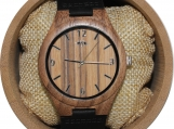 Engraved Walnut Men's Watch With Black Leather Strap (W100)
