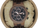Engraved Walnut Wood and Stainless Steel Men's Watch (W130)