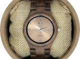 Engraved Walnut Wood Women's Watch (W129)