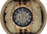 Engraved Zebra wood Men's Watch (W107)