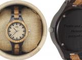 Engraved Zebrawood and Ebony Women's Watch (W081)