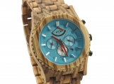 Engraved Zebrawood Men's Automatic Watch With Aqua Dial (W146)