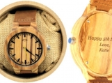 Engraved Zebrawood Men's Watch (W022)