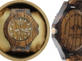Engraved Zebrawood Men's Watch (W054)